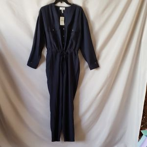 New Lou  Grey Blue Long Sleeve Jumpsuit